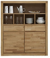 Highboard / Brotschrank Kernbuche massiv geölt
